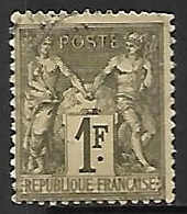 France  1876     Sc#76  1f  Sage  Type 1    Used  2016 Scott Value $11 - 1876-1878 Sage (Type I)
