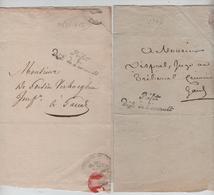 2 LSC Griffe Préfet Département De L'Escault 1808-1812 Pour Gand AP2071 - 1794-1814 (Période Française)
