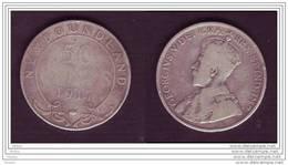 Terre-Neuve, Newfoundland, Canada, 50¢, 1917, Argent, George V, Silver Half Dollar, - Canada
