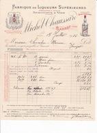 Jolie Facture Fabrique De Liqueurs, Spiritueux, Vins, Michel Chaussard, Gannat (Allier), 1916 - Alimentaire