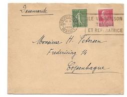 (C03) Y&T 234 + 243 - LETTRE MONTPELLIER => DANEMARK 1929 - TARIF 1-20 GRS DU 01/08/1926 (+ 5 CTS) - Covers & Documents