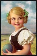 B4693 - Künstlerkarte - Hübsches Kleines Mädchen Mit Zöpfen Und Ball - Bamberg Paarmarke - Portraits