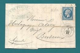 Vosges  - Plombières Pour Holagray à Bordeaux. VRAI PC Sur N°22. Peu Courant (durée 4,5mois...) - Postmark Collection (Covers)