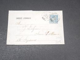 FRANCE - Type Sage Perforé CL Sur Lettre De Lyon Pour Oloran Sainte Marie En 1886 - L 19387 - Perforés
