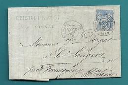 """Vosges  -  Epinal. Cachet """"EPINAL"""" Et """"GARE D'EPINAL"""". 1877 Et 1878 - 1877-1920: Période Semi Moderne"""