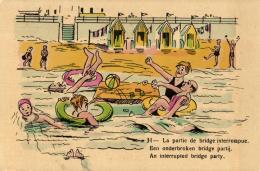 Humour - La Partie De Bridge Interrompue. - Een Onderbroken Bridge Partij.  - An Interrupted Bridge Party. - Humour