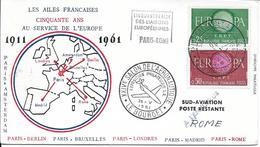 1266-1267 - 50 ANS AU SERVICE DE L'EUROPE - 1911/1961 -PARIS-ROME Au 26-5-64 Du Salon De L'aéronautique 93 LE BOURGET - Marcophilie (Lettres)