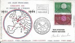 1266-1267 - 50 ANS AU SERVICE DE L'EUROPE - 1911/1961 -PARIS-BERLIN OUEST 26-5-64  Salon De L'aéronautique 93 LE BOURGET - Marcophilie (Lettres)