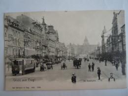 Cpa Gruss Aus Prag! Der Wenzelsplatz 47 Edit Carl Bellmann Tram Used 1919 - Czech Republic