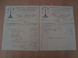 LOT DE 2 FACTURES LOUIS AMIOT FOURNITURE DE CHAUSSURES PARIS 1915 - France