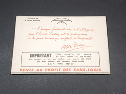 VIEUX PAPIERS - Pochette Aux Profits Des Sans Logis, Fondation Abbé Pierre - L 19428 - Collections