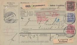 DR Paketkarte Mif Minr.56,57,61 Brandenburg 30.10.01 Gel. In Schweiz - Briefe U. Dokumente