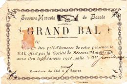 """37. BOSSEE. RARETE. INVITATION AU GRAN BAL ORGANISE PAR LA SOCIETE DE """" SECOURS MUTUELS DE BOSSÉE """". ANNEE 1911 - Maps"""
