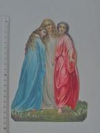 CHROMO DECOUPIS GRAND FORMAT: SOEUR Enfant Religion - Bible Religieux Religion BLEU-BLANC-ROUGE Demoiselle Ange - Angels