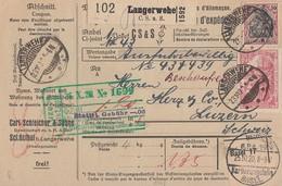 DR Paketkarte Mif Minr.91II,3x 115 Langerwehe 23.10.20 Gel. In Schweiz - Deutschland