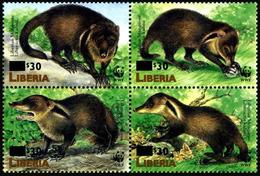 1998 Liberia, Mongoose, WWF, Overprint, 4 Stamps, MNH - W.W.F.