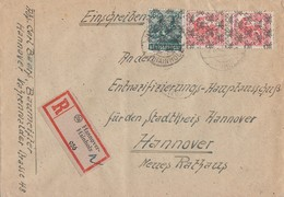 Bizone Orts-R-Brief Mif Minr.42II,2x 46II Hannover-Hainholz 2.8.48 - Bizone
