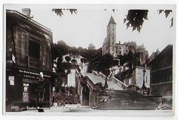 Cpa Bon Etat , Auch , Escalier Monumental Et Tour Armagnac, Genre Carte-photo , Naphta Cycles, Au Bon Marché - Auch