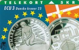Denmark, TP 003A, ECU-Denmark, Mint, Only 11000 Issued, Coins, Mermaid, 2 Scans - Denmark