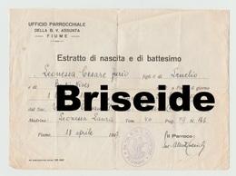 DOCUMENTO CERTIFICATO ESTRATTO DI NASCITA E DI BATTESIMO PARROCCHIA CHIESA BEATA VERGINE ASSUNTA FIUME RIJEKA REKA  1947 - Documenti Storici