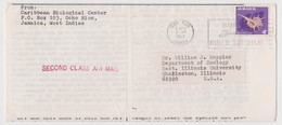 JAMAICA Carribean Biological Center Newsletter, Ocho Rios To USA, Many Pages Missing, Slogan Postmark 6 Apr 1967 (C135) - Jamaica (1962-...)