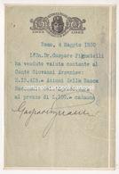 ^ VENDITA AZIONI CONTE ARMENISE ONOREVOLE GASPARE PIGNATELLI GROTTAGLIE TASSA SUI CONTRATTI DI BORSA  DOCUMENTO F1 - Documents Historiques