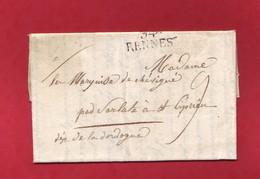 Ille Et Vilaine 34 RENNES 29x12 Lettre De 1819 Pour St Cyprien Dordogne Taxe Manuscrite De 9 Décimes - 1801-1848: Voorlopers XIX