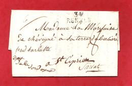 Ille Et Vilaine 34 RENNES 29x12 Lettre Sans Date Pour St Cyprien Dordogne Taxe Manuscrite De 8 Décimes - 1801-1848: Voorlopers XIX
