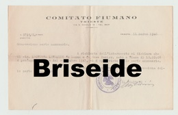 DOCUMENTO CERTIFICATO X CARTA ANNONARIA COMITATO FIUMANO TRIESTE  FIUME RIJEKA REKA  1909 - Documenti Storici