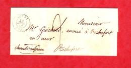 Morbihan C.à.D 15 AURAY Lettre Du 10 Juin 1850  Pour Rochefort Charente-Infre Taxe Manuscrite De 2 Décimes - 1801-1848: Voorlopers XIX