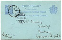 Netherlands 1898 5c. Wilhelmina Postal Card Amsterdam To Hamburg Germany - Postal Stationery