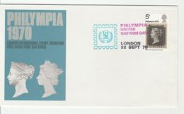 1970 GB PHILYMPIA  'UNITED NATIONS DAY' Event COVER PENNY BLACK Stamps On Stamp Un Philatelic Exhibition - UNO