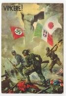 Cartolina Propaganda WW2 WWII - Alberto Amonico - Vincere Bandiere Asse - VG 1943 A Regio Aeroporto 433 PM 3400 - Guerra 1939-45