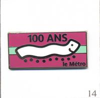 Pin's Transport - RATP / Les 100 Ans Du Métro Parisien - Ticket Mauve / Bande Turquoise. Est. AB. Paris. T603-14 - Transportation