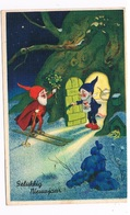 KAB-19  A DWARF On Skies Presenting Flowers ( Gnoom, Dwerg) - Fairy Tales, Popular Stories & Legends