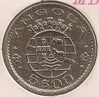 Moeda Angola Portugal - Coin Angola 5 Escudos (5$00) 1972 - MBC + - Angola