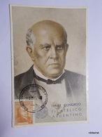 """Domingo Faustino Sarmiento-Carte Avec Timbre Et Oblitération """"Primer Congreso Filatelico Argentino"""" - Argentine"""