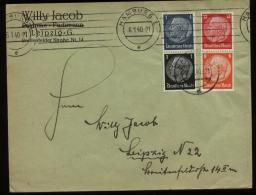 S3115 DR Zusammendruck Auf Briefumschlag: Gebraucht Hamburg - Leipzig 1940 , Bedarfserhaltung. - Germany