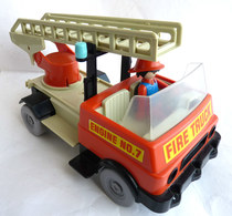 TRES RARE PLAYMOBIL KLICKY CAMION DE POMPIER EQUIVALENCE DE  BOITE 3236 1976-78 EN LOOSE - Playmobil