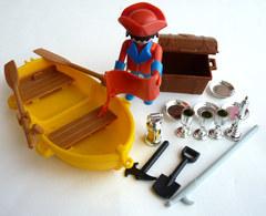 RARE PLAYMOBIL KLICKY EQUIVALENCE DE  BOITE 3570 Barque Au Trésor 1979-80 à 1984-85 EN LOOSE - Playmobil