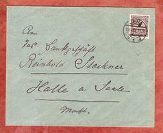 Brief, EF Korbdeckelmuster, Jena Nach Halle 1923 (52946) - Briefe U. Dokumente