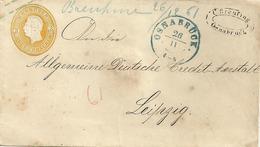 Postwaardebrief  3 GROSCHEN Van HANNOVER Op 26-11-..van OSNABRÛCK Naar Leipzig Via MINDEN - Hannover