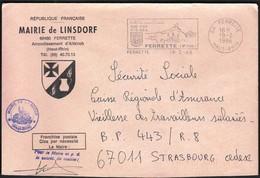 France Ferrette 1986 / Mairie De Linsdorf / Coat Of Arms / Fish, Tourism, Castle / Machine Stamp - Marcophilie (Lettres)
