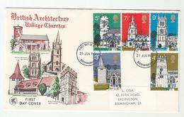 1972 Birmingham GB FDC CHURCHES Stamps Cover Church Religion - FDC