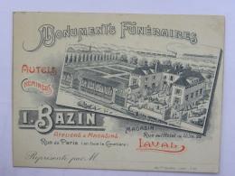 CPA (53) Mayenne - LAVAL - Carte Commerciale - I. BAZIN - Monuments Funéraires, Autels, Cheminées ... - Laval