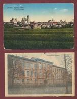 Grodno Polen Poland - Lietuvos  Lithuania : Hrodna Belarus : 2 Karten Ogolny Widok + Gymnazjum / Krieg 1916 - Belarus