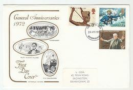 1972 Birmingham GB FDC Stamps TUTANKHAMUN  Egyptology COASTGUARD Ship  VAUGHN WILLIAMS Music Cover - FDC