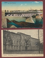 Grodno Polen Poland - Lietuvos  Lithuania : Hrodna Belarus : 2 Karten : Stadtbrücke + Zeska Gimnazja / Krieg 1916 - Belarus