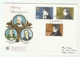 1971 Birmingham GB FDC Stamps LITERARY Poet KEATS GRAY SCOTT Cover - FDC