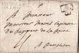 1 - REGNO DI SARDEGNA - LETTERA PREFILATELICA DA CERTOSA D'ASTI 1736 - 1. ...-1850 Prephilately